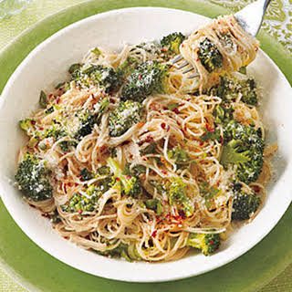 Garlicky Angel Hair with Roasted Broccoli.