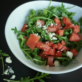 Arugula and Watermelon Salad with Feta and Pickled Onions