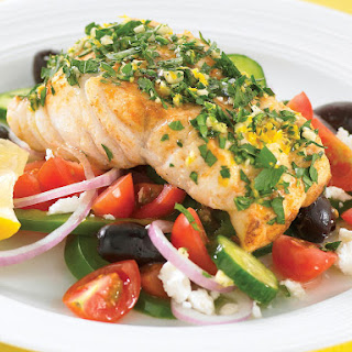 Pan-Seared Fish with Lemon-Parsley Gremolata and Greek Salad.