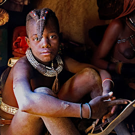 Himba Tribal Little Girl, Africa. by Doug Hilson - Babies & Children Child Portraits ( lifrstyle, little girl, africa., tribal himba )
