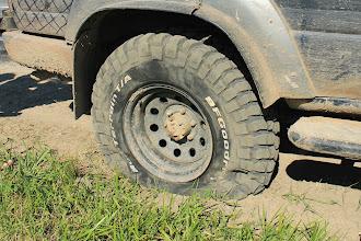 Photo: По дороге домой у нас взрывается колесо ,хорошо что это произошло по дороге домой ,а не где то в начале пути .