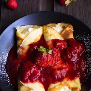 Strawberry Cream Filled Crepes.