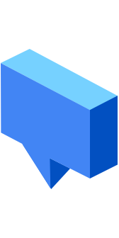 "A blue speech bubble icon, representing ""when in doubt, talk it out"""