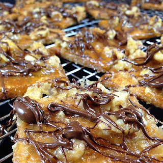 Chocolate Drizzled Toffee Squares.