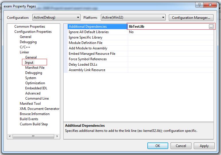 Add đường dẫn của file LibTest.lib vào mục Additional Dependencies