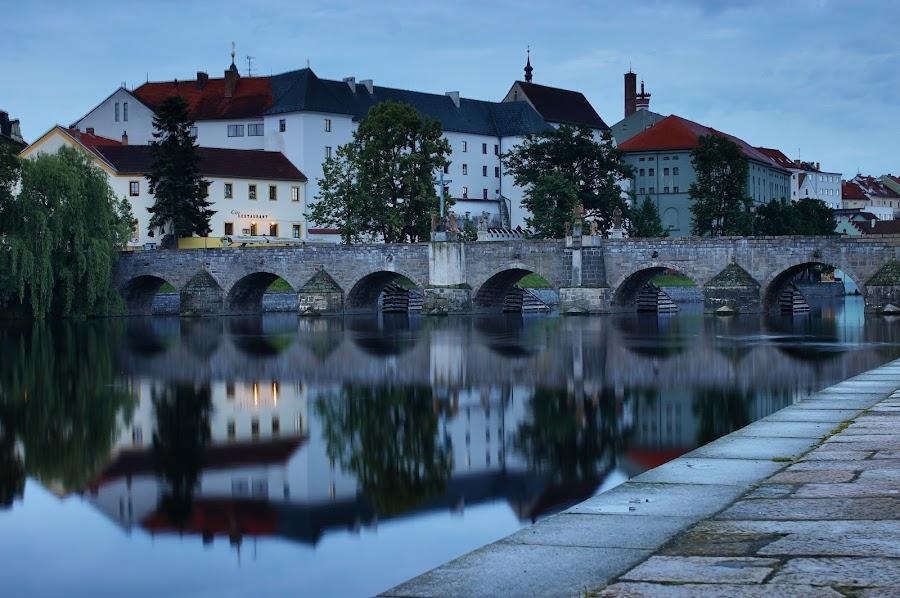 Old stone bridge in Písek by Michal Snopek - Buildings & Architecture Bridges & Suspended Structures ( písek, reflection, hdr, long exposure, bridge, city, river )