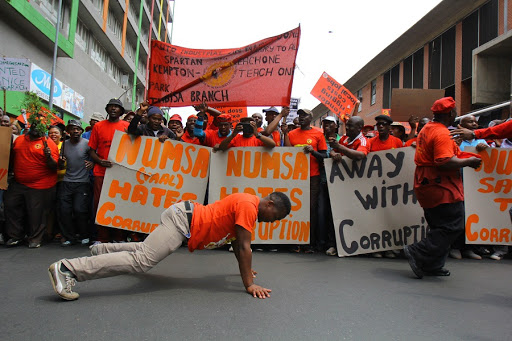 Numsa members and supporters in Newtown, Johannesburg. Picture: KABELO MOKOENA