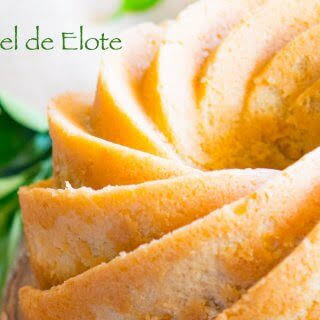 Pastel de Elote or Sweet Corn Cake with Orange Habanero Glaze.