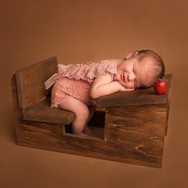 Schoolgirl Dreams by Nicole Ferris - Babies & Children Babies ( girl, apple, baby girl, desk, sleeping, baby, newborn,  )