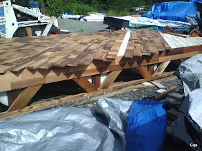 Photo: Cedar Tk primed, under clear A&btr, FJ Cedar for deck, 3/4 TK and 5/8 FJ