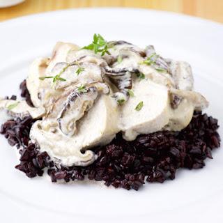 Chicken Supreme with Mushroom Cream served on Black Rice.