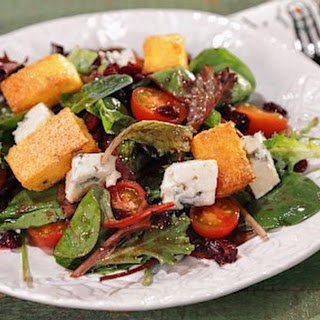 Greens with Polenta Croutons