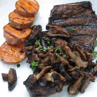 New York Strip With Mushroom Balsamic Reduction.