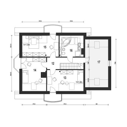 Dom Dla Ciebie 1 w3 z garażem 1-st. A - Rzut poddasza