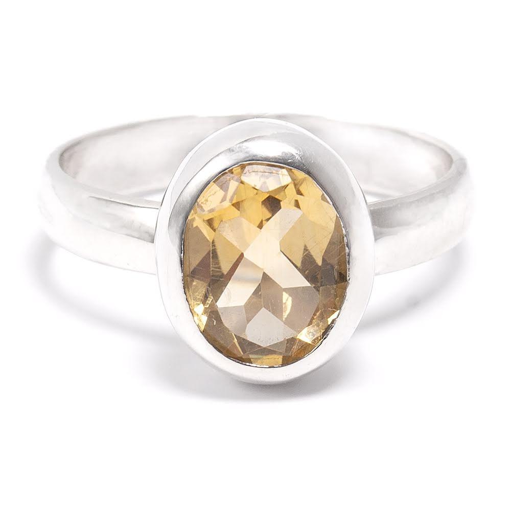 Citrin, slät oval silverring