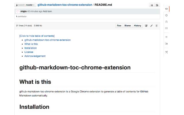 GitHub markdown ToC