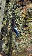 Photo: Катя лезет прямо по водопаду