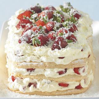 White Chocolate and Strawberry Meringue Cake.