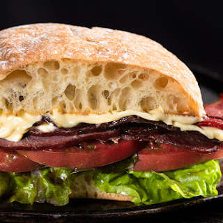Duck Bacon, Lettuce, and Tomato.