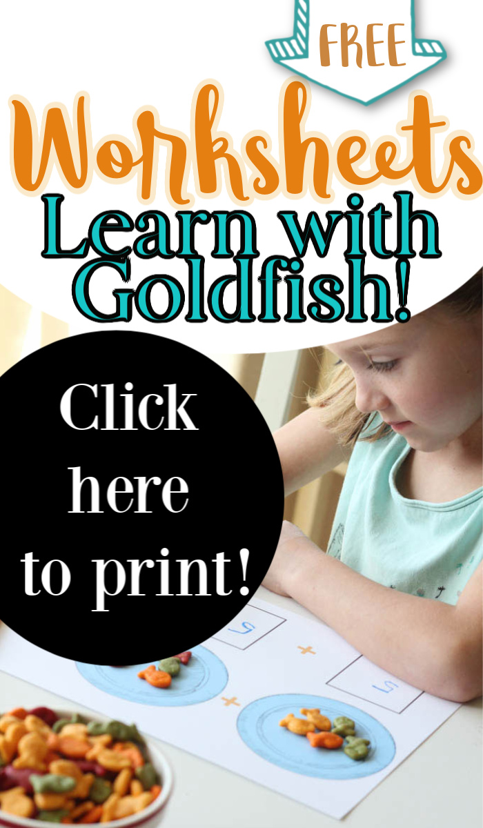 Girl coloring a worksheet with Goldfish crackers and text overlay