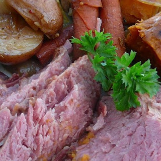 Stout Slow Cooker Corned Beef and Veggies.