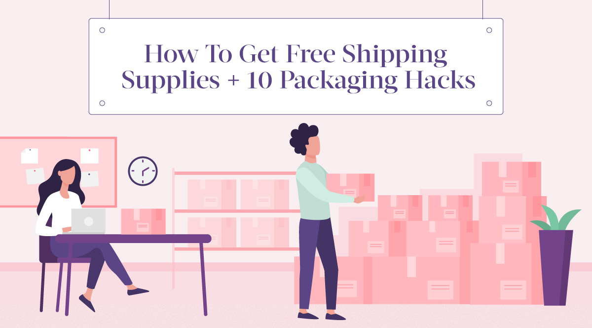Small business owner packing boxes