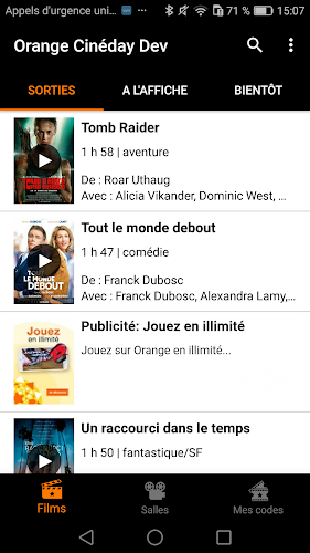 Orange Cineday Android App Screenshot