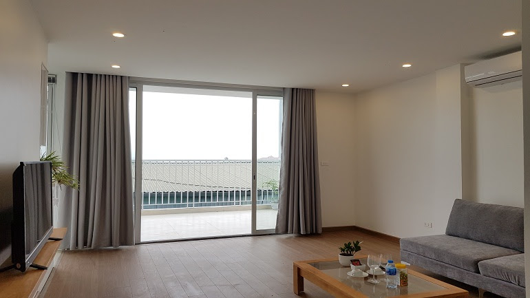 Lake – view two bedroom apartment with big balcony in Xom Chua street, Tay Ho district for rent