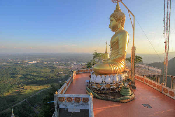 Visit the top of Tiger Cave Temple in the morning