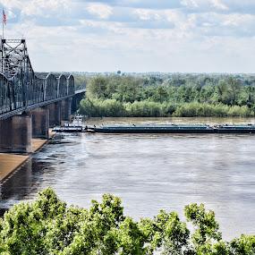 Might Barge by Sharyl Goodpaster - Landscapes Travel ( mississipi, bridge, river, landmark )