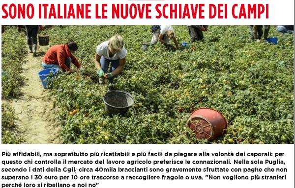 sono italiane le nuove schiave nei campi