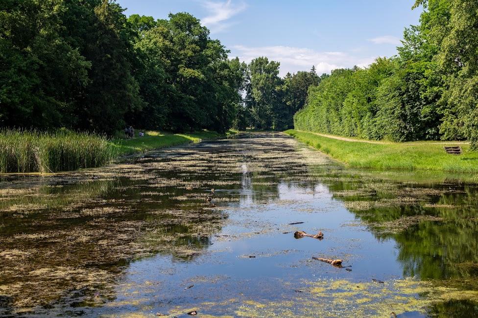 Ogrody w Nieborowie, kanał, park angielski
