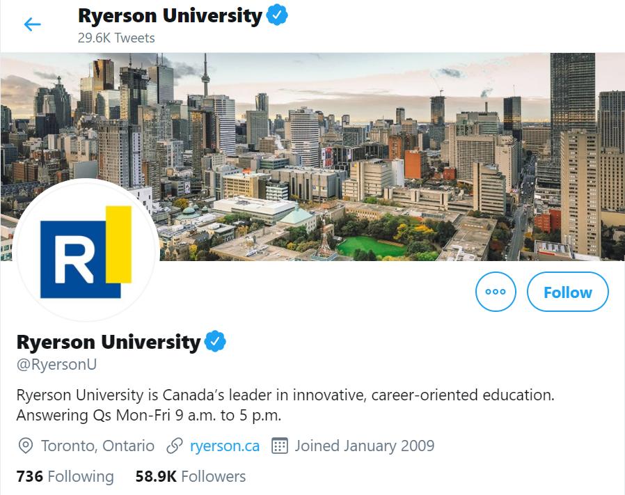 ryerson online social media