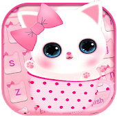 Pink Cute Kitty Keyboard Theme