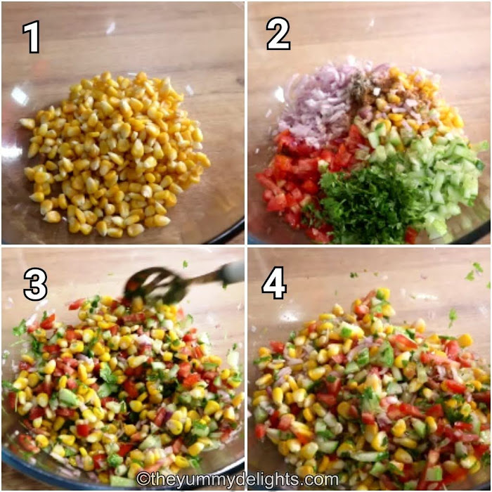 step by step image collage of making the corn salsa