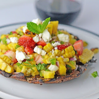 Grilled Portabella Mushrooms with Strawberry Mango Salad