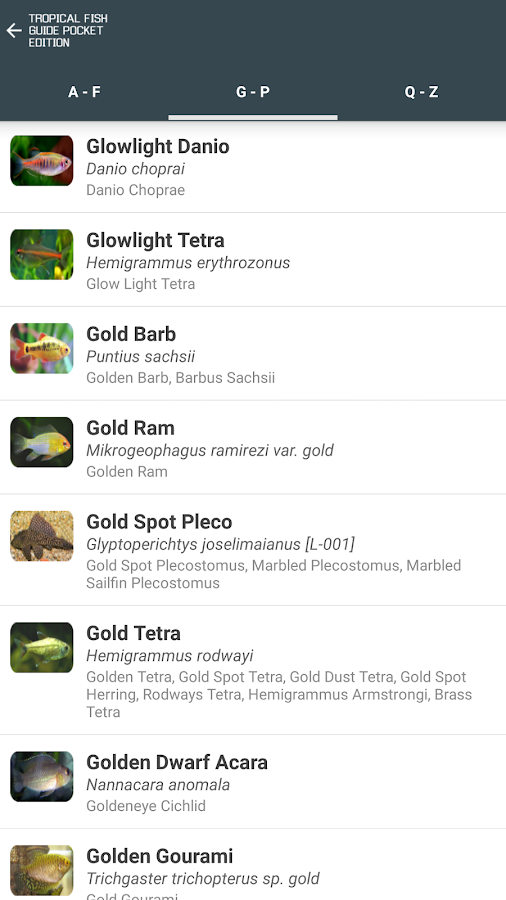 Tropical Fish Guide Pocket Edition- screenshot