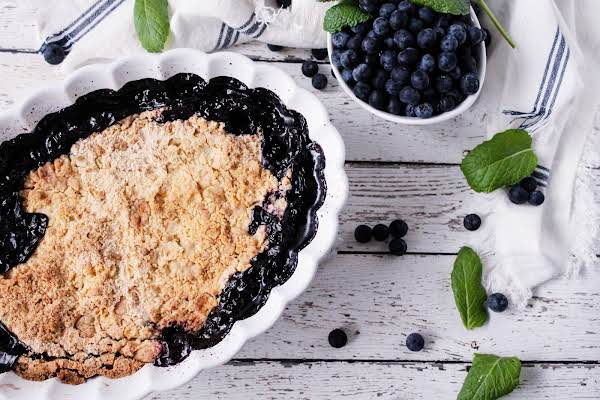 Blueberry Cobbler With Topping Baked To A Golden Brown.