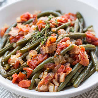Pressure Cooker Green Beans with Tomatoes and Bacon.