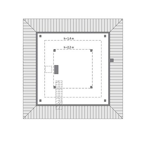 Czterolistna koniczyna - wariant XIX - C444w - Rzut poddasza do indywidualnej adaptacji (44,9 m2 powierzchni użytkowej)