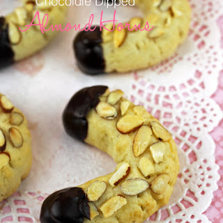 Chocolate Dipped Almond Horn Cookies.