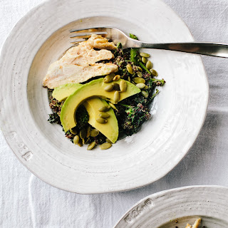Roasted Broccoli Rabe with Lemon Vinaigrette and Grilled Chicken.