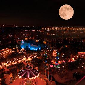 Moon over Amusement by Boyd Smith - City,  Street & Park  Amusement Parks ( california adventure, amusement park, disneyland, full moon, blue moon )