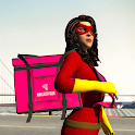 Spider Girl Moto Bike - Pizza Delivery Food Games icon