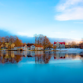 Blue Winter by Edit Peterffy - Landscapes Waterscapes ( reflection, winter, waterscape, edit, reflections, people, places, architecture, building, World_is_Blue )
