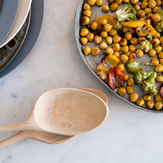 Roasted Chickpeas with Romanesco, Peppers + Anchovies