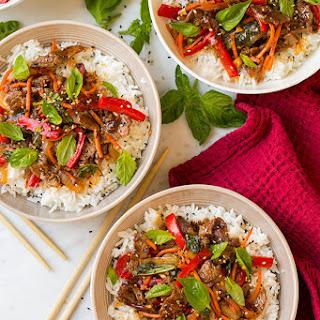 Thai Basil Beef Bowls.