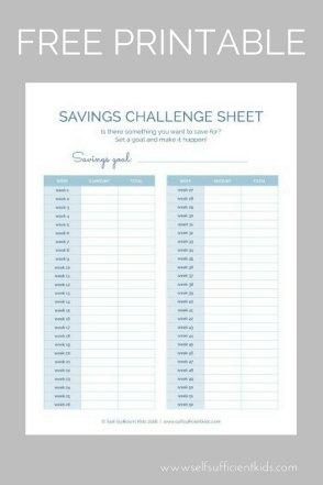 Children's Savings Challenge Sheets