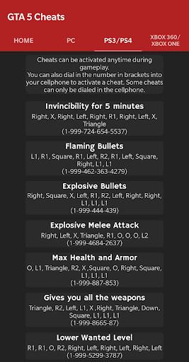 Foto do Cheat Codes for GTA 5