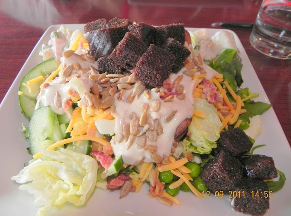 Here are the croutons from Ruby Tuesday's on a beautiful salad.